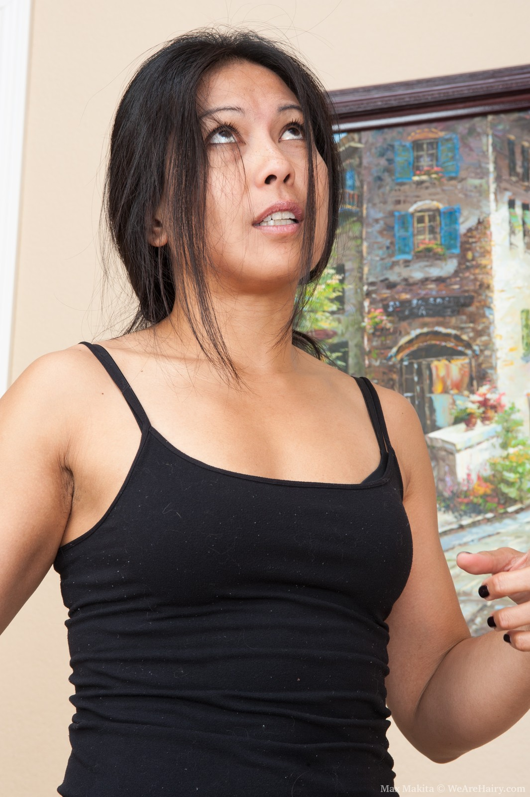 Hairy woman Max Makita is a sexy Asian beauty wearing a